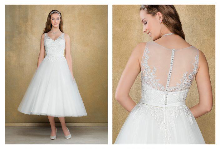 Robe de mariée courte avec détails en dentelle et taille marquée