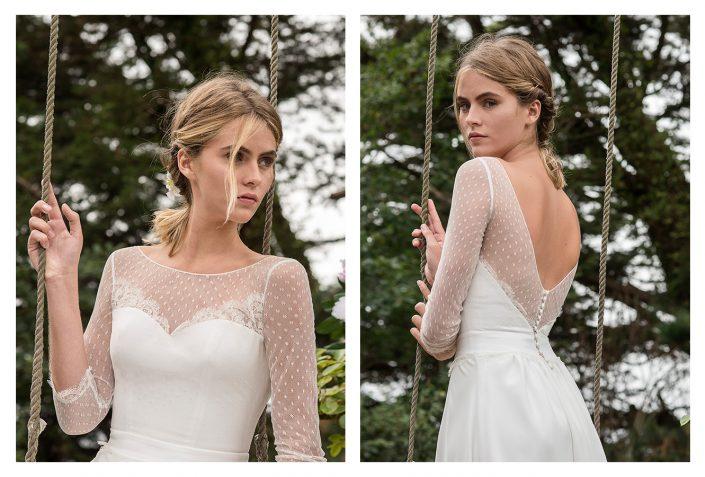 Robe de mariée vintage fluide avec dentelle et plumetis