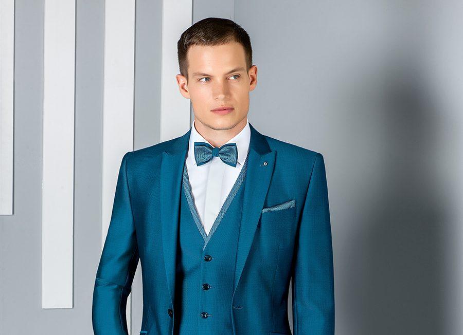 Roberto Vicentti: Costume de marié bleu canard avec gilet et noeud papillon